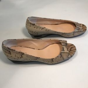 Cole Haan Snake Skin Brown & Cream Open Toe Wedge